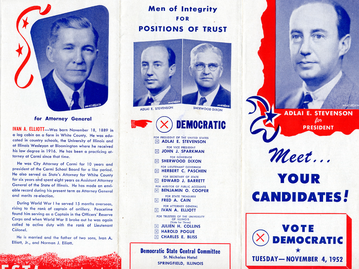 November Campaign brochure featuring candidate Adlai E – Election Brochure